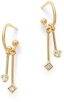Zoë Chicco 14K Yellow Gold Diamond Charm Huggie Hoop Earrings