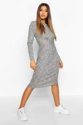 boohoo Marl Knot Front Long Sleeve Midi Dress