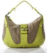 Valentino Beige Canvas Lime Green Crocodile Trim Hobo Shoulder Handbag