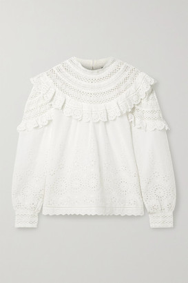 Sea Daisy Crochet-trimmed Ruffled Broderie Anglaise Cotton Blouse - Off-white