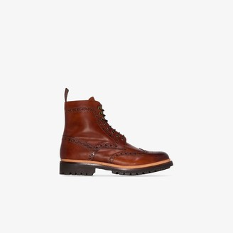 Grenson Tan Fred Hand painted Leather Boots