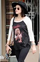 Lauren Moshi Blondie Maglan Boyfriend Tee in Onyx/Faded White as seen on Lucy Hale