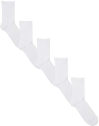 M&Co White picot ankle socks five pack