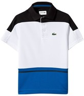 Lacoste White and Blue Panel Ultra Dry Polo