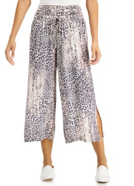 Rewash Juniors' Smocked Cropped Wide-Leg Pants