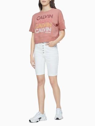 Calvin Klein White Denim High Rise Bermuda Shorts