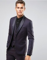 Burton Menswear Skinny Jacquard Suit Jacket with Satin Lapel