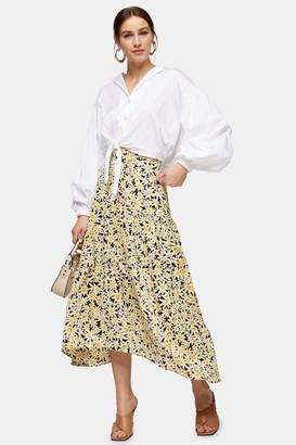 Topshop Womens Yellow Daisy Print Tiered Midi Skirt - Yellow