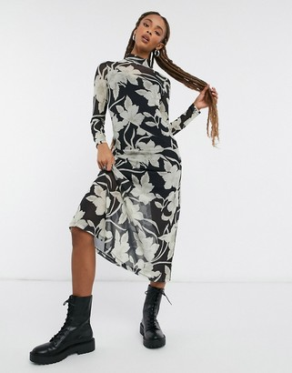 AllSaints Hanna Jardin long sleeve mesh maxi dress with flower print in black