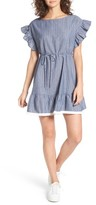 BP Women's Ruffle Trim Stripe Cotton Shift Dress