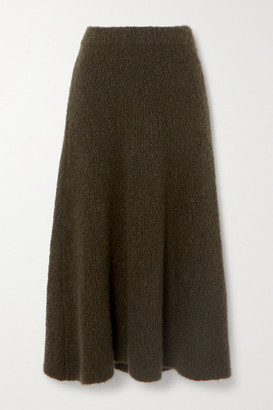 Gabriela Hearst Pablo Cashmere And Silk-blend Boucle Midi Skirt - Army green