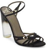 Versace Lucite-Heel Strappy Satin Sandals