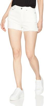 EVIDNT Women's High Waist Raw Hem Jean Shorts