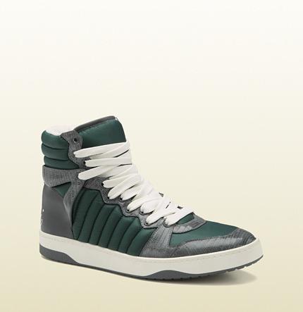 Gucci Green Padded Nylon High-Top Sneaker