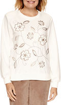 Alfred Dunner Twilight Point Long Sleeve Embroidery Fleece Top