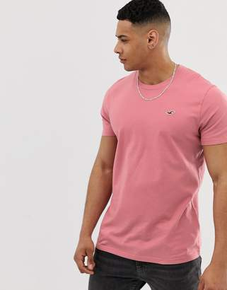 Hollister crew neck seagull logo t-shirt in pink