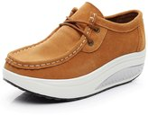 Shenn Women's Comfy Platform Suede Fashion Sneakers 1061,CA6.5