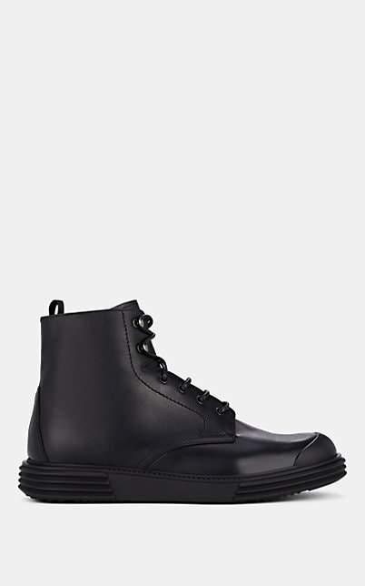 Prada Men's Leather Lace-Up Boots - Black