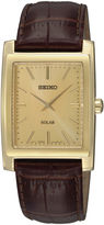 Seiko Mens Brown Leather Strap Solar Watch SUP896