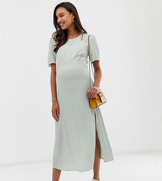 New Look Maternity puff sleeve dress in mint-Green