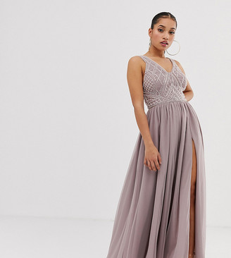 Asos DESIGN Petite maxi dress with tulle skirt and embellished and pearl bodice