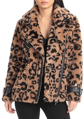 AVEC LES FILLES Oversized-Fit Leopard-Print Teddy Faux Fur Biker Jacket