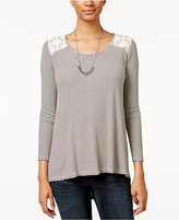 American Rag High-Low Lace-Back Top, Only at Macy's