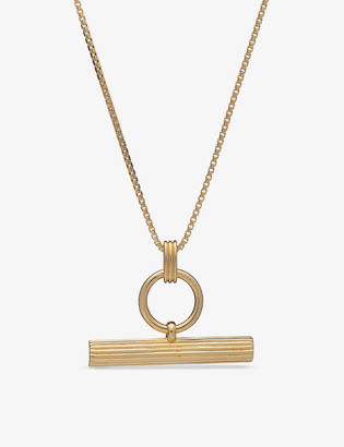 Rachel Jackson Momento T-bar 22ct yellow gold-plated sterling silver necklace