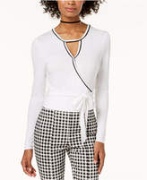 XOXO Juniors' Contrast Ballet Wrap Top