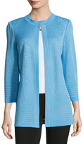 Ming Wang 3/4-Sleeve Embossed Knit Jacket, Light Blue