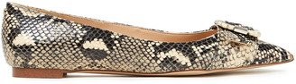 Sam Edelman Sonja Buckle-embellished Snake-effect Leather Point-toe Flats