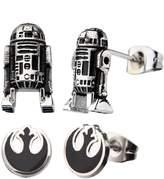 Disney Women's Stainless Steel Star Wars 3D R2D2 and Rebel Symbol Stud Earring Set