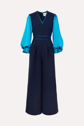 Roksanda Two-tone Cady And Silk-satin Jumpsuit - Navy