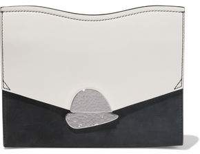 Proenza Schouler Curl Color-block Leather And Suede Clutch