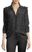 Frame Diamond-Print Button-Front Ruffle Long-Sleeve Silk Blouse