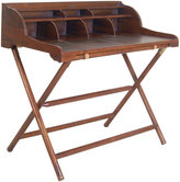 Houseology OH Vintage Campaign Teak and Leather Writing Desk with Rack