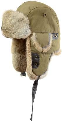 Black Brown 1826 Rabbit Fur-Trim Cotton Aviator Hat
