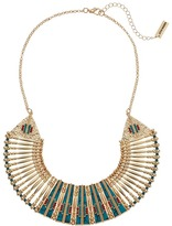 Steve Madden Blue Bar and Geometric Stone Bead Bib Necklace