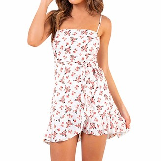 JMNyxgs Women's Floral Square Neck Spaghetti Straps Ruffle Jumper Dress Flower Print Sleeveless Wrap Dress with Drawstrings Teen Girls Self Tie Mini Sundress for Travel Beach Vacation Pink