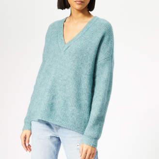 Gestuz Women's Debbie Crop V Pullover - Oil Blue Melange - M - Blue
