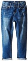 7 For All Mankind Kids Josefina Skinny Boyfriend Stretch Twill Jeans in Royal Broken Twill (Little Kids)