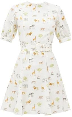 Emilia Wickstead Pip Animal-print Belted Linen Mini Dress - Womens - Cream Print