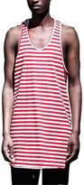 ONCEGAA Mens T Shirts Stripe Pattern Tank Tops (, Red-white stripes)