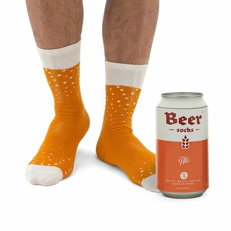 Luckies Of London Novelty Beer Socks - Colorful Socks for Men Made from Soft Cotton Nylon - Funny Socks for Men Crazy Socks in Beer Can Orange Ale