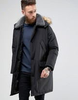 Asos Parka Jacket With Fleece Collar In Black
