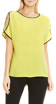 Vince Camuto Women's Contrast Trim Cold Shoulder Blouse