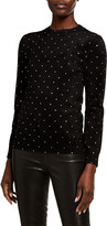 Balenciaga Velvet Studded Mock-Neck Top