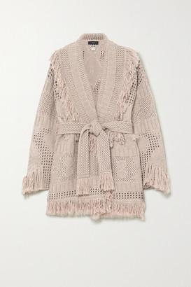 Alanui Belted Fringed Open-knit Wool Cardigan - Beige