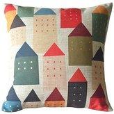 GraebnerSaleStore 18X 18inch Pastoral Style Cotton Linen Decorative Throw Pillow Cover Cushion Case Bailand H:1520