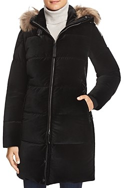 Parajumpers Sindy Fur Trim Velvet Down Coat